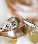 twisted band pave setting halo engagement ring, men's wedding band with white and rose gold