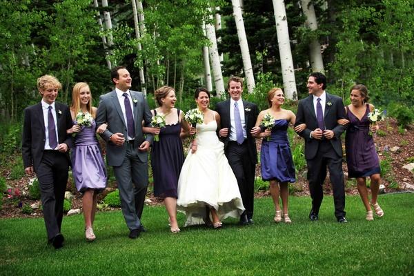 Bride and groom with bridesmaids and groomsmen in Utah