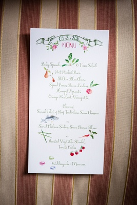 artful reception menu illustrations southern wedding west virginia creative paper goods card