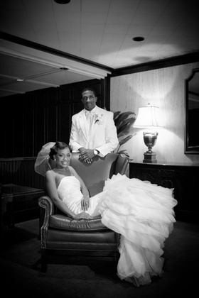 Black and white photo of Jarett Dillard and bride