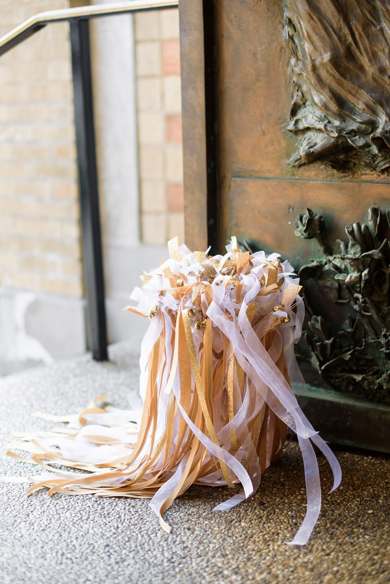 ribbon wands for bride and groom leaving the wedding