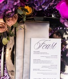 purple sequin linens, mirrored charger, silver napkins