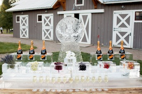Ice sculpture Champagne bar with garnishes and fruit in ice blocks cocktail hour