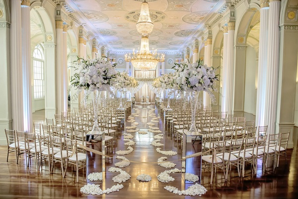 White silver gold wedding at the biltmore ballrooms in atlanta white gold and silver wedding ceremony decorations in atlanta junglespirit Image collections
