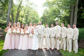 new york jets brian winters wedding, bridesmaids in blush, groom and groomsmen in tan khaki suits