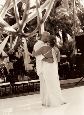 Sepia tone picture of bride and groom's first dance