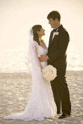 Bride and groom on beach in Naples, Florida