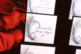 Black and white place cards with feather design