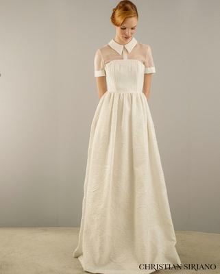 Christian Siriano for Kleinfeld menswear inspired collared wedding dress