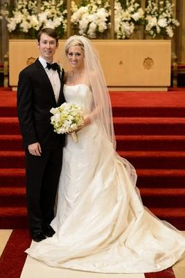 Bride and groom at Denver church wedding ceremony