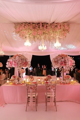 Tent wedding with pink lighting long rectangular sweetheart table