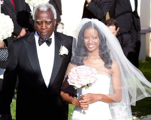 African American father of bride in tuxedo and bow tie