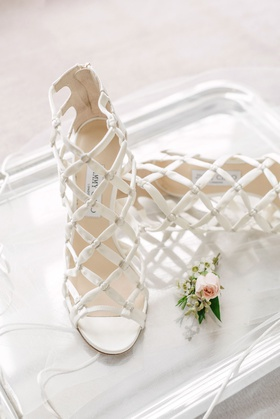 wedding shoes white crisscross design crystal jimmy choo wedding shoes high heels