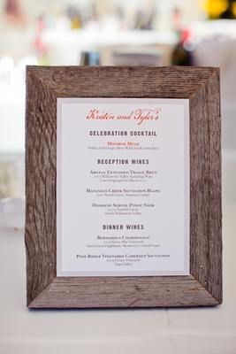 Wood frame displaying white card with drinks