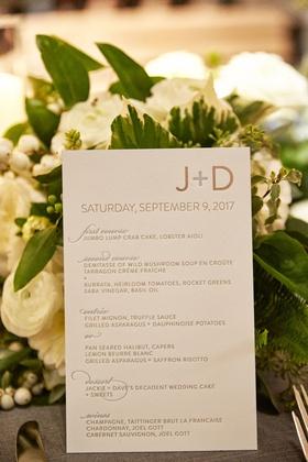 wedding reception menu card first course second course entree choices dessert, wines modern design