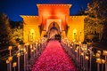 restaurant wedding venue marrakech morocco flowers candles opulent traditional wedding building