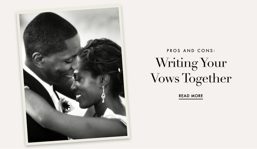 pros and cons writing your wedding vows together writing same vows couples bride groom