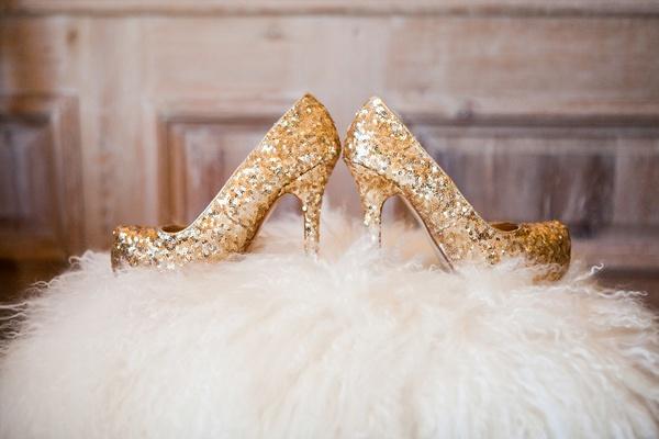 Gold sequined Victoria's Secret heels.