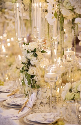 wedding styled shoot glass candelabra with white roses