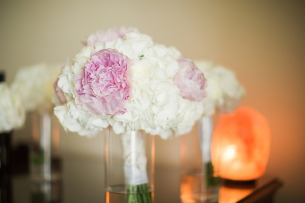 bridal bouquet with pink peonies, cream roses