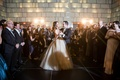 bride groom dance surrounded by guests champagne colored wedding dress new york city jewish wedding