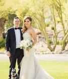 Maggie Lewis in strapless Liancarlo wedding dress with Drew Miranda in tux and bow tie Schnauzer