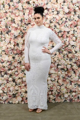 Michael Costello spring summer 2018 bridal couture collection plus size high neck long sleeve dress