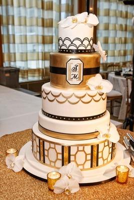 White gold black vintage inspired wedding cake art deco elements scallop geometric designs