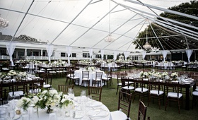 wedding reception at country club, large tent  without roof
