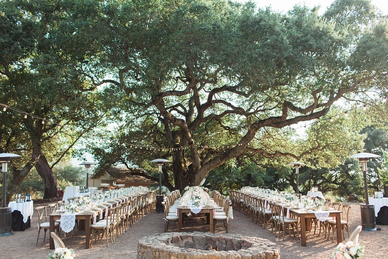 alfresco winery reception wedding venue northern california kunde estate family tables lights runner