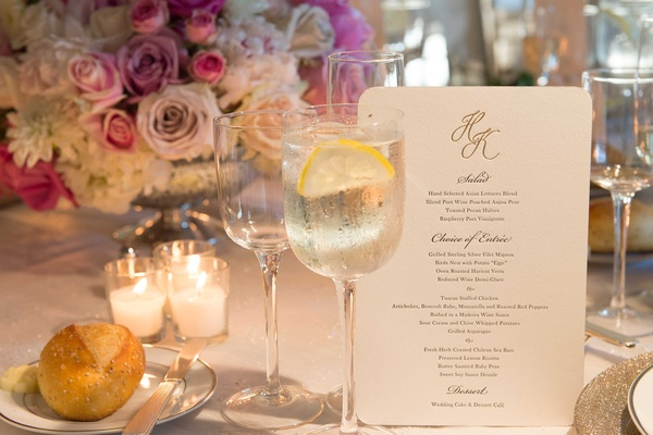 Wedding menu card with rounded corners, gold monogram, and salad, entree, dessert choices