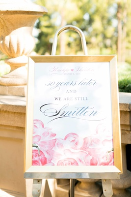 Thirty year wedding anniversary vow renewal sign with pink watercolor rose design quote