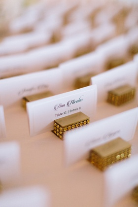 Rhinestone gold escort card stand table card place setting card entree and table details