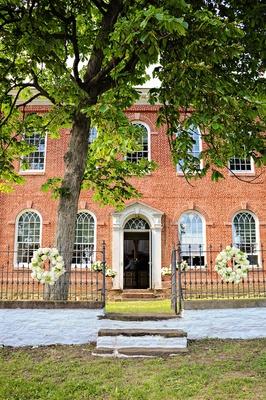 Wedding at Salem Belleman's Church white and green floral arrangements
