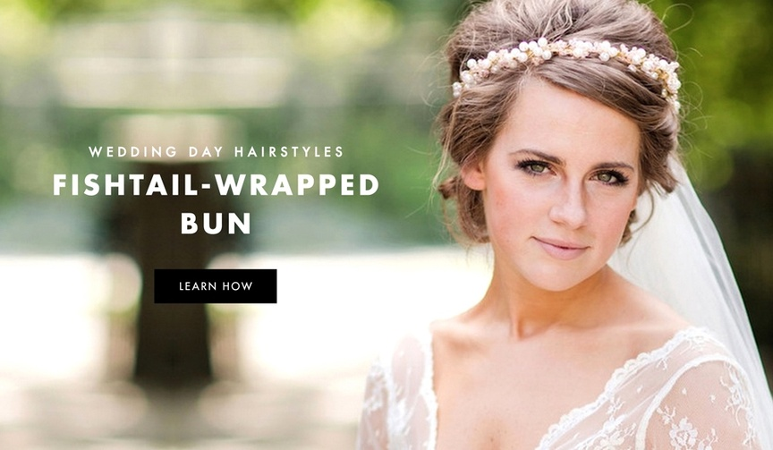 Fishtail braid wrap bun wedding day hairstyle
