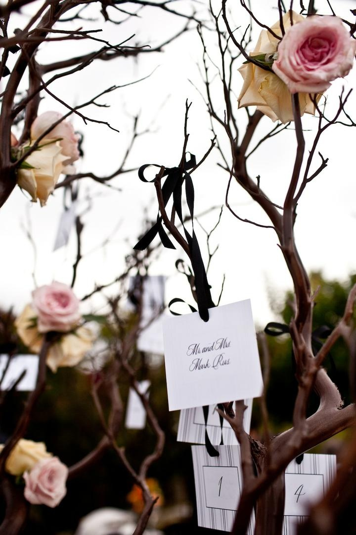Escort cards hanging from Manzanita tree branches
