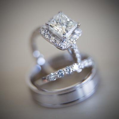 Marina Diamonds & Jewelry princess cut diamond engagement ring with halo and wedding bands