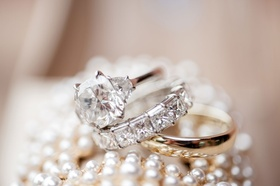 Bride wedding ring engagement ring with side stones and eternity band polished gold ring for groom