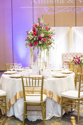 south asian wedding inspiration,red, magenta, purple, greenery floral centerpiece