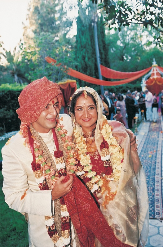 Bride and groom in traditional Indian wedding attire