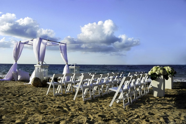 Wedding ceremony on the sand at W Retreat & Spa, Vieques Island.