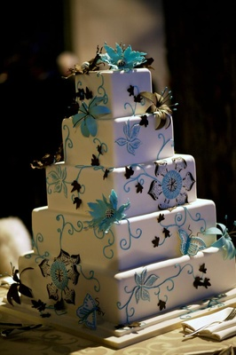 Bright blue and brown cake decorations