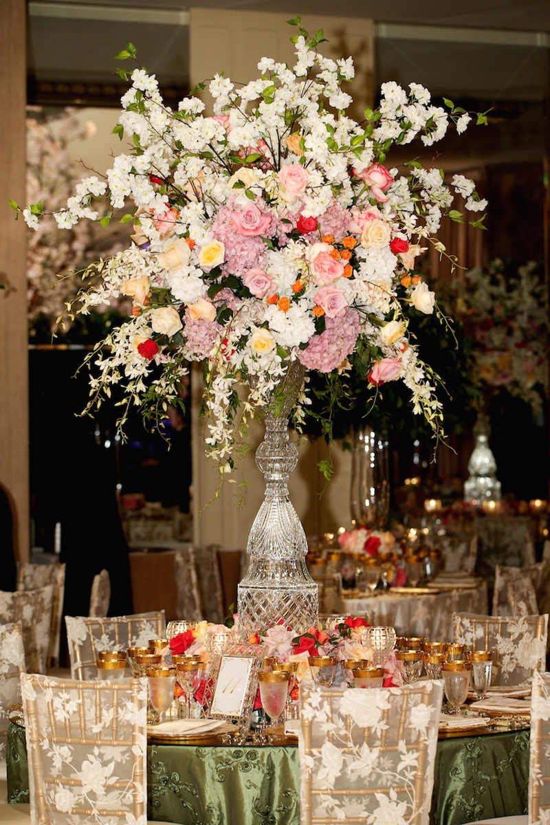 Reception dcor photos fall wedding centerpiece on crystal stand cut crystal centerpiece stand with lush pink white flowers junglespirit Image collections
