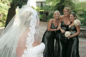 Dark green metallic bridesmaid dresses