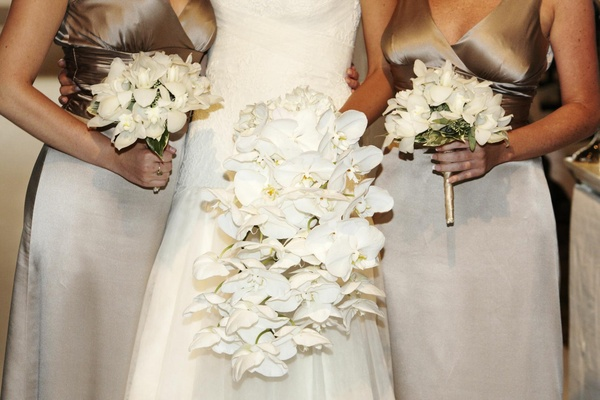Cascading orchid bouquet and nosegays