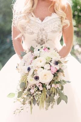 bride held classic rustic bouquet pink ranunculus, anemone, amaranthus, dahlia, garden rose, verdure