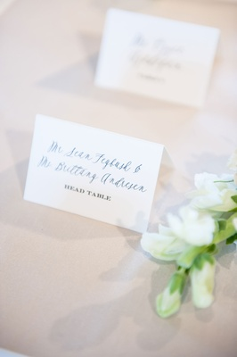 Simple escort cards half calligraphy half printed table number and guest name