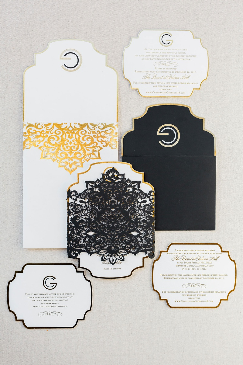 Charlise Castro and Houston Astros mlb player George Springer III white gold invitation suite lace
