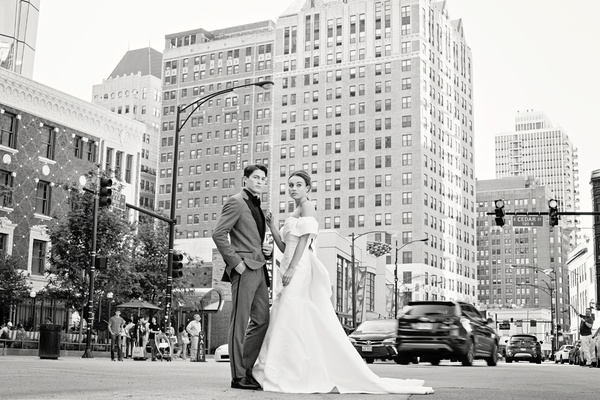 styled shoot, groom in grey tuxedo, bride in monique lhuillier trumpet gown