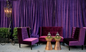 Wedding reception after party for Alexis Cozombolidis and Hunter Pence ultra violet pantone color